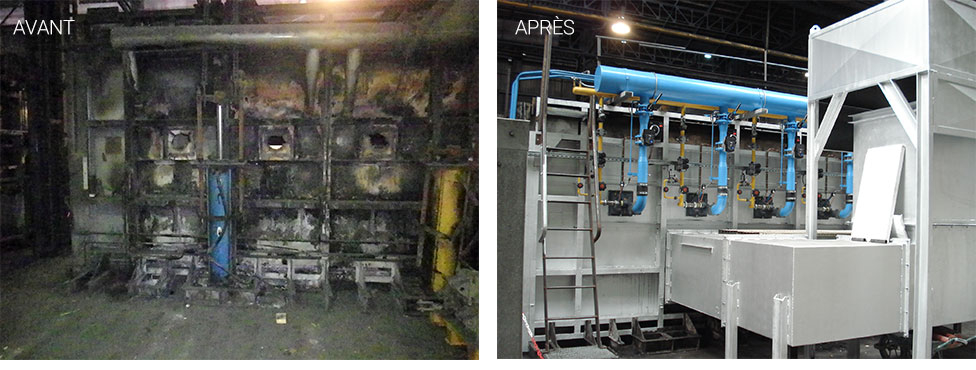 Complete revamping of a forge furnace: recovery of the frame, of the combustion system and of the refractories.